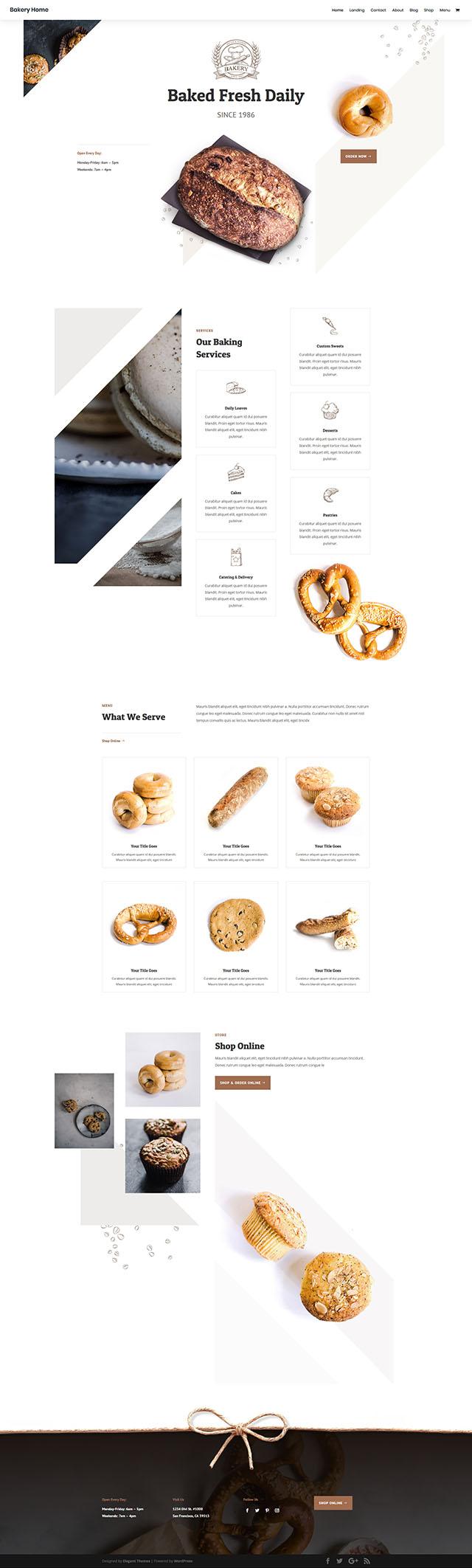 FREE Bakery Layout Pack 免費下載麵包店示範頁面組合