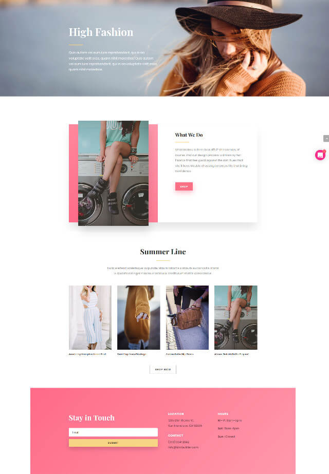 Stylish Fashion Layout Pack for Divi