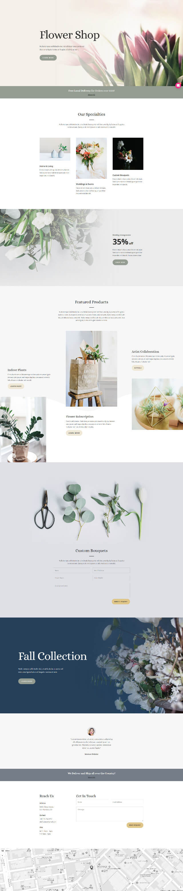 Free Divi Florist Layout Pack – 免費花店樣版下載