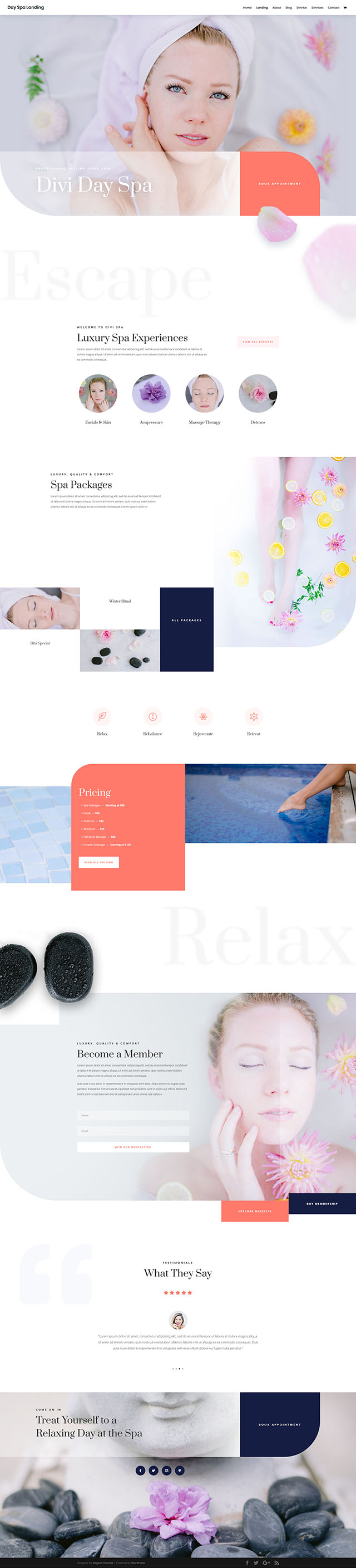 FREE Day Spa Layout Pack for Divi 免費下載水療示範頁面組合