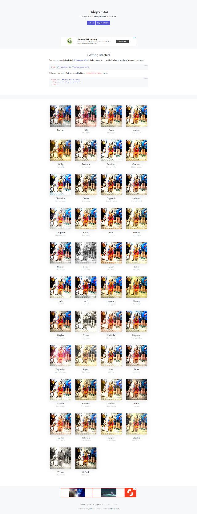 Instagram.css 照片特效式樣設計網站